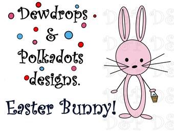 Easter bunny digital stamp