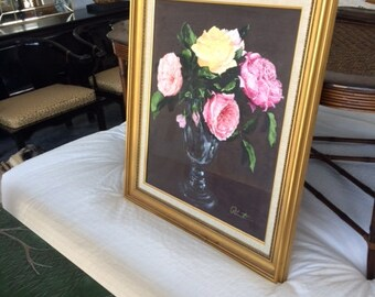 Vintage Floral Oil on Canvas with Gold Frame