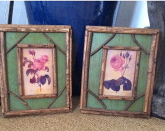 Pair of Hand-Painted Vintage Botanicals