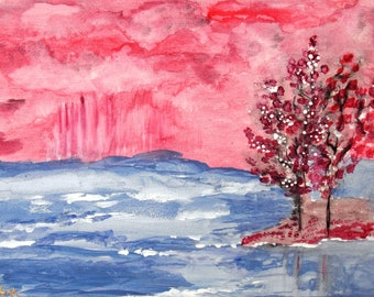 """Acrylic painting """"The Day at the lake"""" acrylic paintings collage abstract painting landscape painting painting artwork handmade unique"""