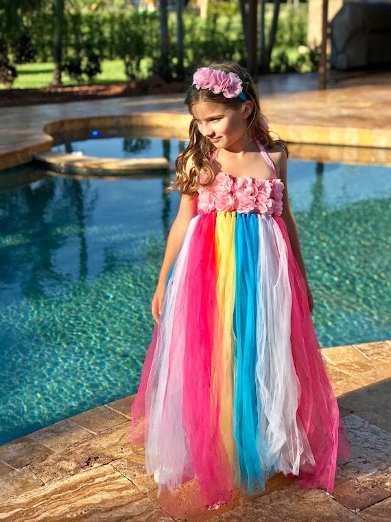 Birthday Dress Spring Wedding Dress Summer Wedding Gown Pink Peach Couture Tulle Flower Girl Dress Junior Bridesmaid Dress
