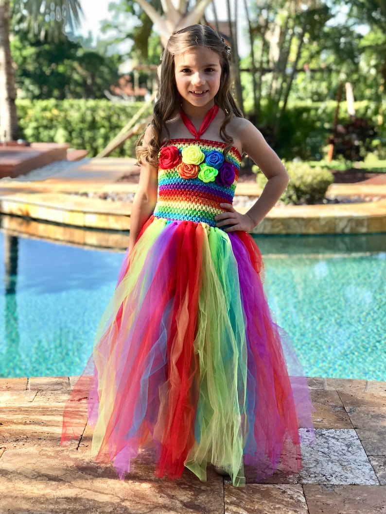 c94856c0f0d05 Rainbow Couture Tulle Flower Girl Dress, Junior Bridesmaid Dress, Spring  Wedding Dress, Summer Gown, Unicorn Tutu Fluffy Dress
