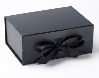 1cb33bbc655ac Luxury Deep A5 Black Box with Ribbon - Black Gift Box - Keepsakes Box - Gift  Boxes With Lids - Black Gift Box