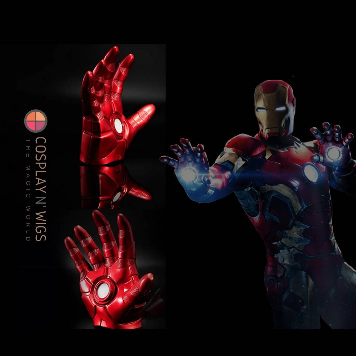Iron Man Halloween Cosplay Gauntlet Gloves LED Left//Right Hand 1:1 Adult Gloves