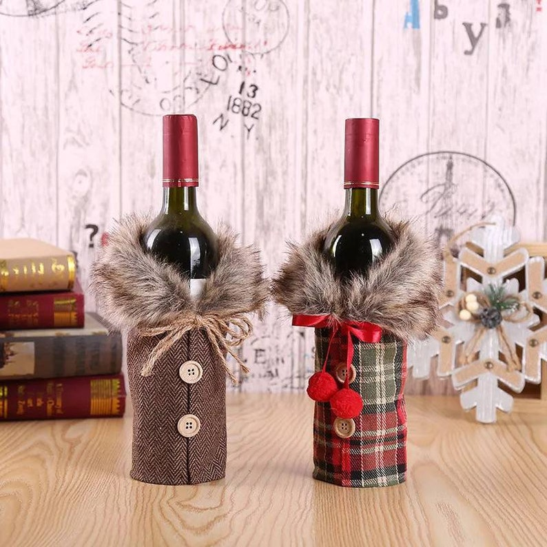Handmade Christmas Wine Bottle Gift Bags