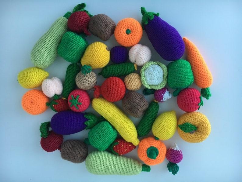 Crochet Vegetables Fruit set of 10 Play Food Set Pretend | Etsy | 596x794