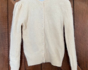 The 50/'s Angora Creamy White Cardigan