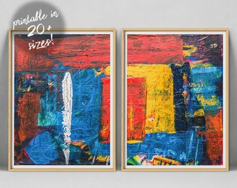 Abstract Wall Art Set Canvas Print Brush Strokes Painting 2 Piece Poster Printable Instant Download