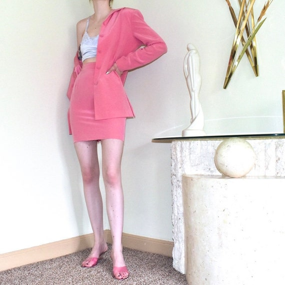 Silk Skirt Suit - Barbie Pink - Size 6