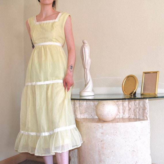 1970s Sunny Yellow Prairie Dress - Size XS