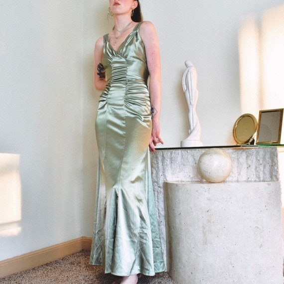 Sage Green Ruched Evening Gown
