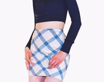 Diagonal Plaid Mini Skirt - W28
