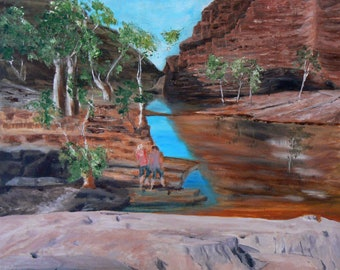 Original Artwork Hammersley Gorge W.A. Maxine Ryan acrylic canvas board rockface water reflections gum trees red