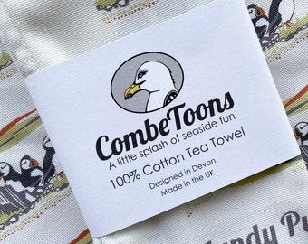 Lundy Puffins 100% Cotton Tea Towel