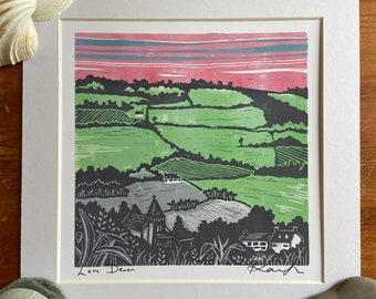 """Lino cut """"Love Devon"""", Giclee, fine art, high quality print, limited edition, signed, mounted, unframed/framed"""
