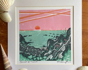"""Lino cut """"Sunset@Tunnels"""", Giclee, fine art, high quality print, limited edition, signed, mounted, unframed/framed"""