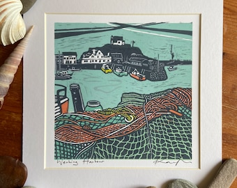 """Lino cut """"Working Harbour"""", Giclee, fine art, high quality print, limited edition, signed, mounted, unframed/framed"""