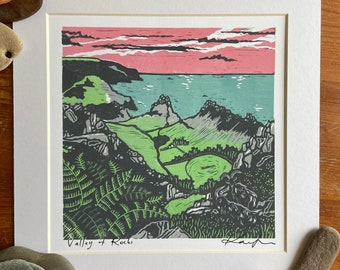 """Lino cut """"Valley of Rocks"""", Giclee, fine art, high quality print, limited edition, signed, mounted, unframed/framed"""