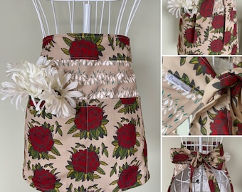 Springtime Floral Utility Apron, Daffodils, Rhododendrons