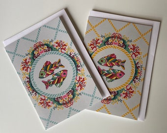 """Greetings Cards """"Today's Catch"""", 2 blank cards pack, kinfolk fish design, notelet, art card"""