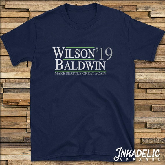 sports shoes 332b4 ce7d2 Russell Wilson x Doug Baldwin T-Shirt // Seattle Seahawks 2019 Funny  Political President Parody Make Seattle Great Again // Tee Shirt TShirt