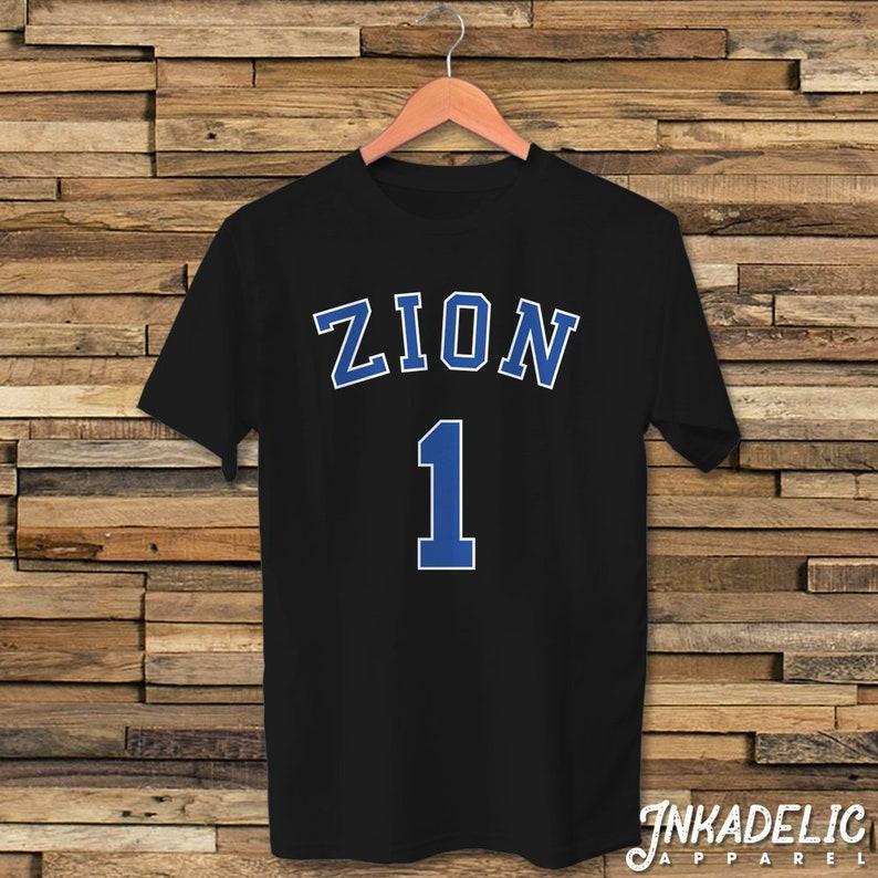 9c6bd6612062 Zion Williamson 1 Jersey Inspired T-Shirt for Duke Basketball