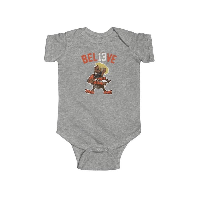 sale retailer 21a40 46da0 Odell Beckham Jr Brownie Logo Parody Creeper for Cleveland Browns Fans  Baker Mayfield Jarvis Landry OBJ Baby Infant Fine Jersey Bodysuit