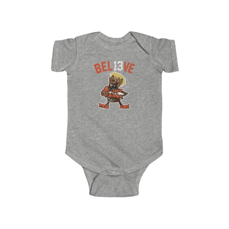 sale retailer 80e6a 7590c Odell Beckham Jr Brownie Logo Parody Creeper for Cleveland Browns Fans  Baker Mayfield Jarvis Landry OBJ Baby Infant Fine Jersey Bodysuit