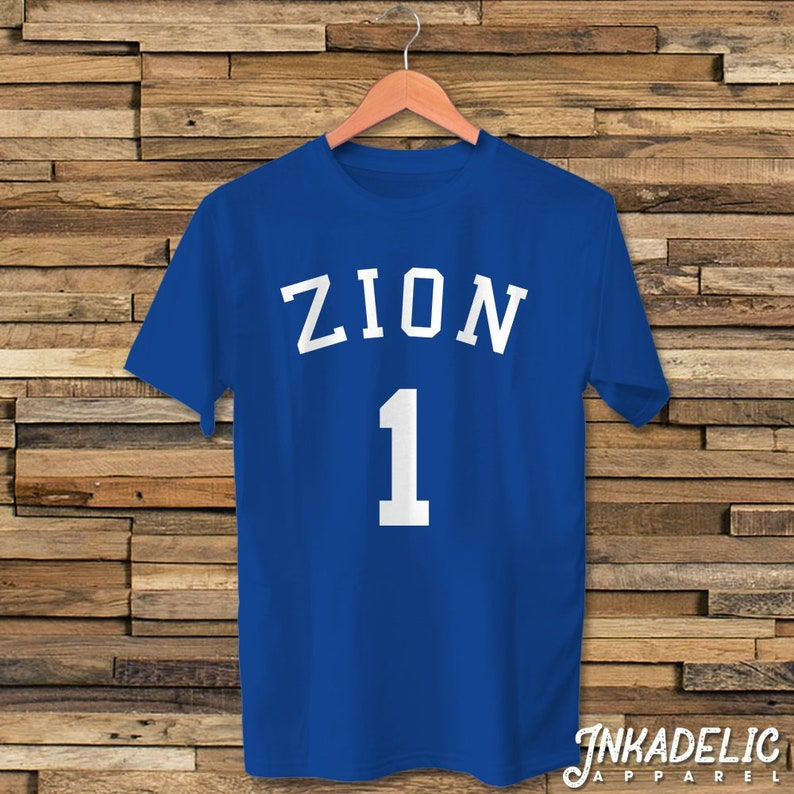 9c6bd6612062 Zion Williamson 1 Jersey Inspired T-Shirt for Duke Basketball