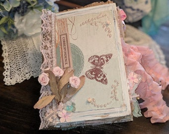 Handmade Mint and Pink Shabby Chic Vintage Junk Journal