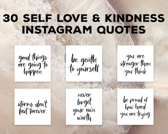 Self Love Quotes Instagram Post Pack, Quotes Kindness, Self Care Quotes  Insta Branding Pack, Social Media Marketing, Instagram Graphics