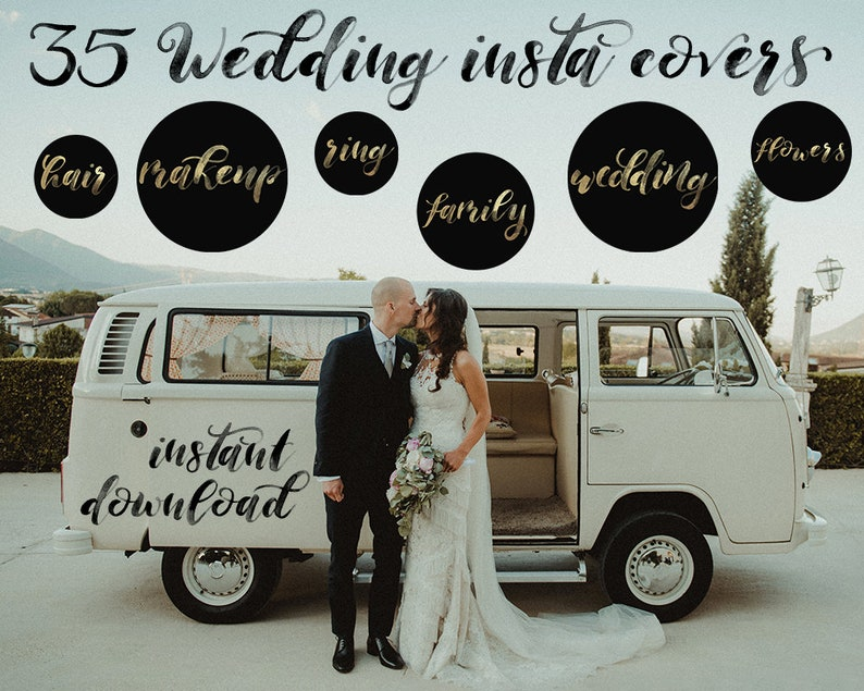 Wedding Insta Story Covers, Instagram Highlights, Insta Stories Cover Icons  Text Gold lettering Wedding Planner Photographer Bridal Branding