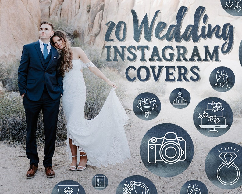 Wedding Instagram Story Highlight Cover Blue Watercolor Insta Stories Icons Wedding Photographer Wedding Planner Branding Kit Boho Bride
