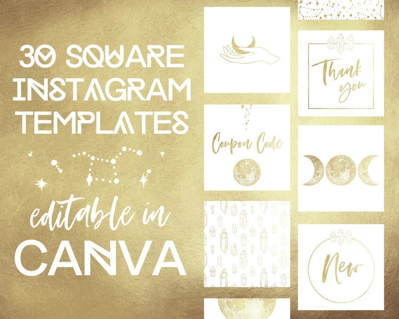 Canva Templates Instagram, Boho Moon Insta Branding Kit, Business Instagram  Witch, Stars Bohemian Social Media, Crystal Instagram Posts