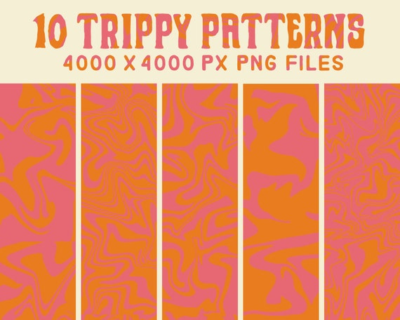 Psychedelic Pattern Trippy Retro Digital Paper Pack 60s Etsy