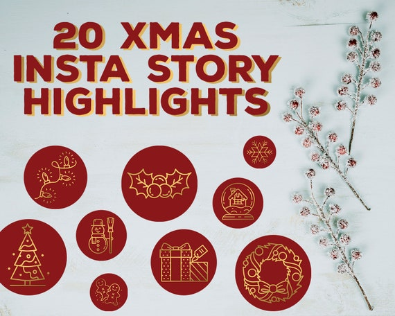 Christmas Icon For Instagram Highlights.Xmas Insta Story Cover Icons Christmas Instagram Highlights Winter Instagram Stories Snow Branding Snowflake Icons Holiday Instagram