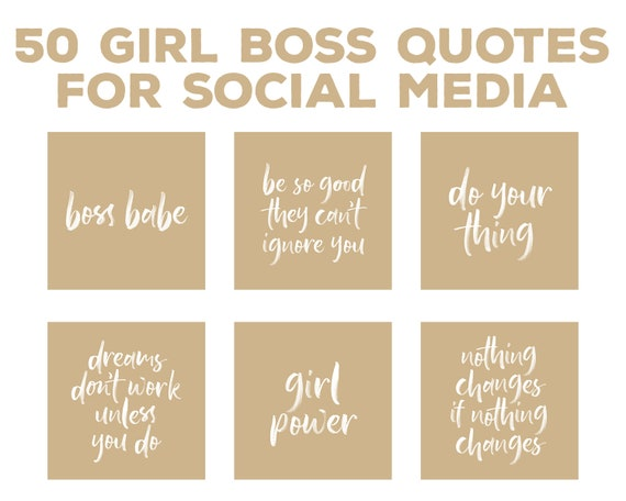 Girlboss Instagram Quotes Business Instagram Branding Kit Motivational Quotes Premade Insta Posts Store Graphics Modern Beige Brand