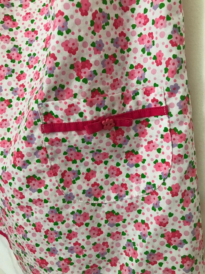 Handmade little girls summer pink a line flower dress pockets