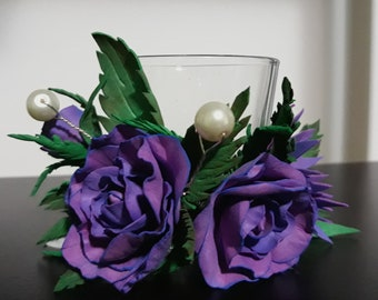 Candle Holder with Foam Flowers