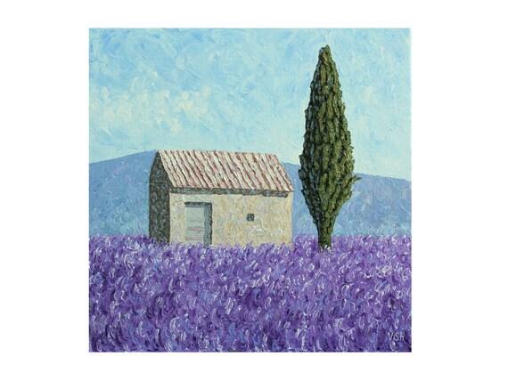 Champ De Lavande Peinture De Provence Art De Toile De Lavande Peinture Dhuile De Lavande Peinture De Vieilles Maisons Vieille Oeuvre Dart De