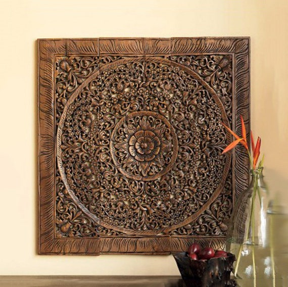 Teak Lotus Wall Panels. Handcarved solid Wood Wall Art | Etsy