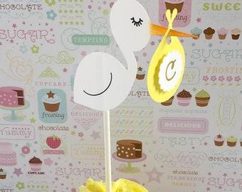 3D Dangle Stork Cupcake Toppers