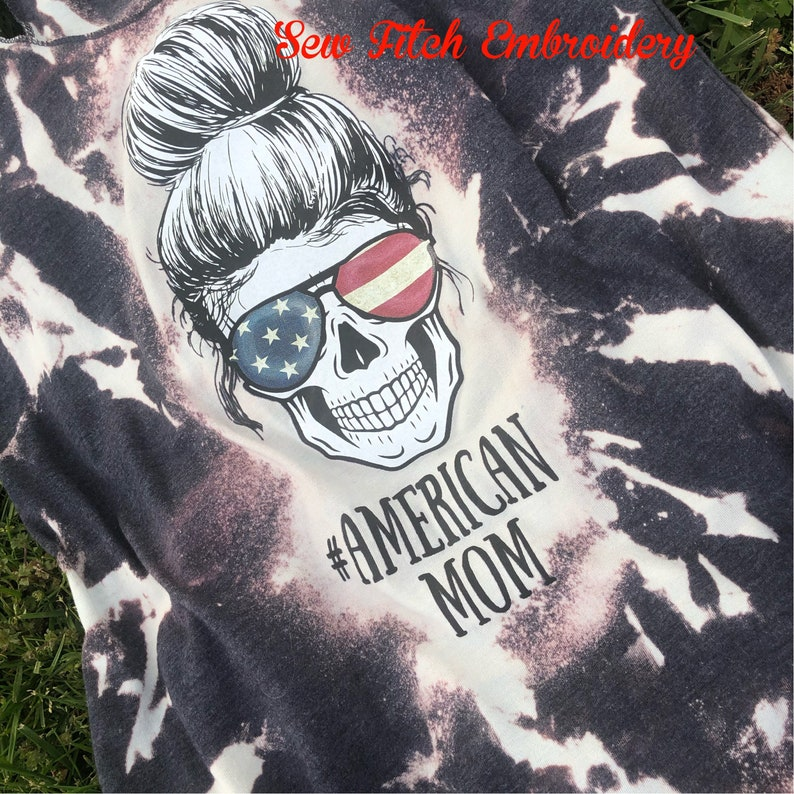 American mom bleached tank 4th of July women/'s tank Memorial Day shirt
