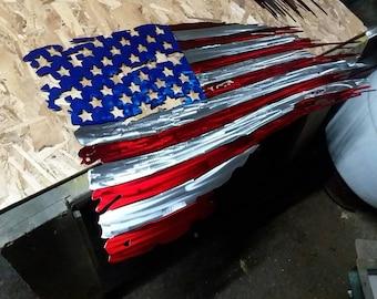 Tattered American flag.