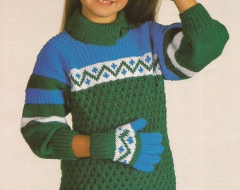 b8e9a4d50 PDF Instant Download Knitting Pattern  Child s Gloves   Sweater  Sirdar 4611