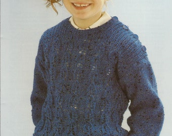 56cca9909 PDF Instant Download Knitting Pattern  Child s DK Lacy Sweater  Sirdar 4600