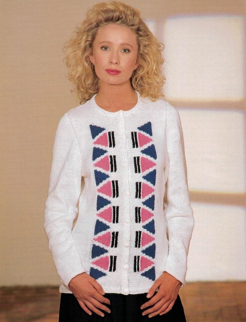 PDF Instant Download Knitting Pattern *Lady/'s DK Shaped Cardigan* Hayfield 00443