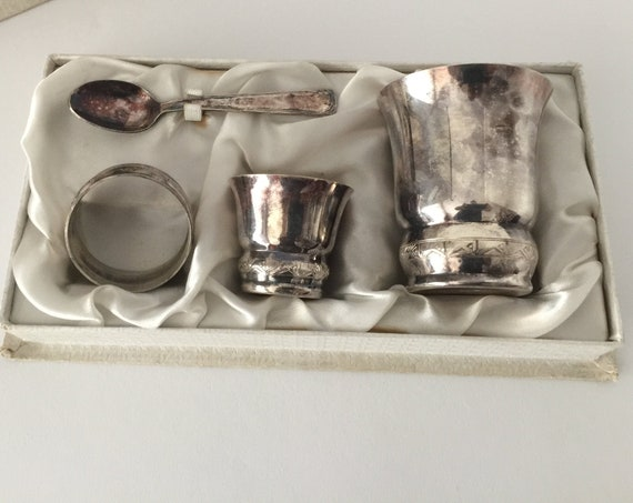 French Silver Plated Babies Christening Set