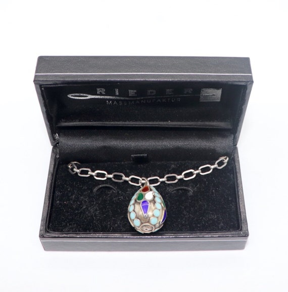 Russian cloisonné egg pendant on an antique Russian 800 Silver chain