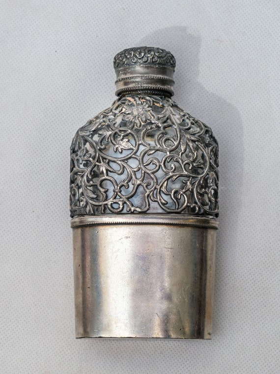 Orly & Co finely decorated vintage Pewter Flask